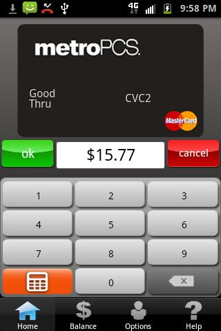 MetroPCS Virtual MasterCard - screenshot