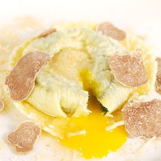 Raviolo with Egg Yolk Truffle Butter