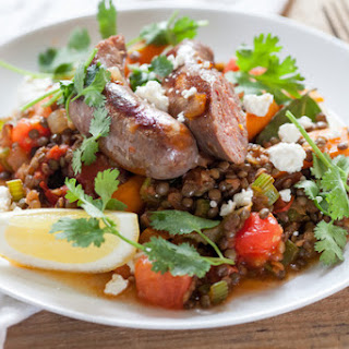French Lentils with Sautéed Summer Vegetables & Lamb Sausage.