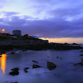 Tower at night by Jozef Svintek - Landscapes Waterscapes ( water, ireland, night, rocks, light,  )