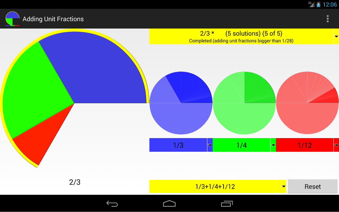 Adding unit fractions- screenshot