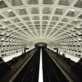 under the ground by Jarka Vojtaššáková - Buildings & Architecture Other Interior ( metro, transportation, architecture, washington dc black&white, tunnel )