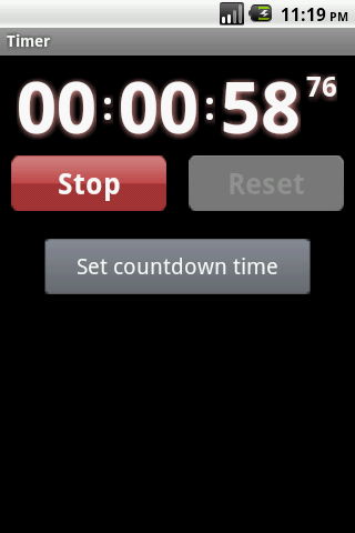 Droid timer and stopwatch - screenshot