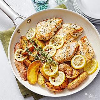 Lemon-Thyme Roasted Chicken with Fingerlings.
