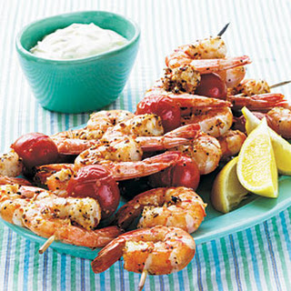 Broiled Shrimp Kebabs with Horseradish-Herb Sour Cream Sauce.