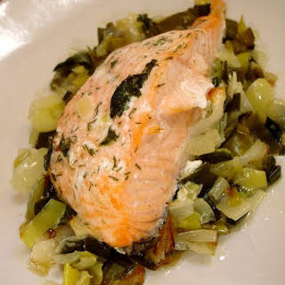 Salmon Fillets with Leeks.
