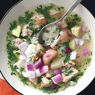 Chicken-Rice Soup with Sour Cream and Avocado