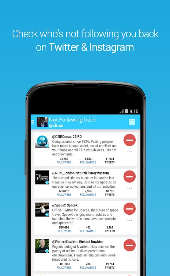 Unfollowers, Twitter Instagram - screenshot