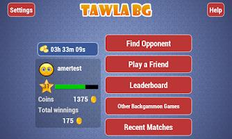 Screenshot of Tawla Backgammon