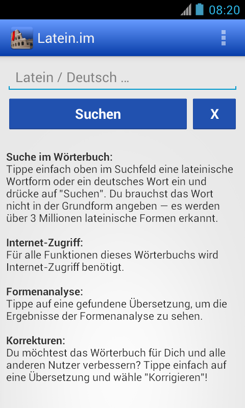 Latein-Wörterbuch mit Formenanalyse – Latein.me- screenshot