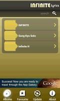 Screenshot of Infinite Lyrics