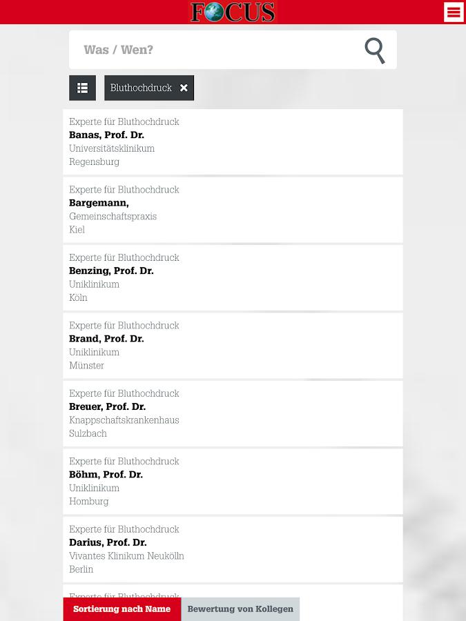 FOCUS Ärzteliste - screenshot