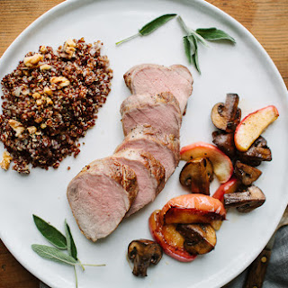 Roast Pork Tenderloin and Apples with Mushroom Sauté