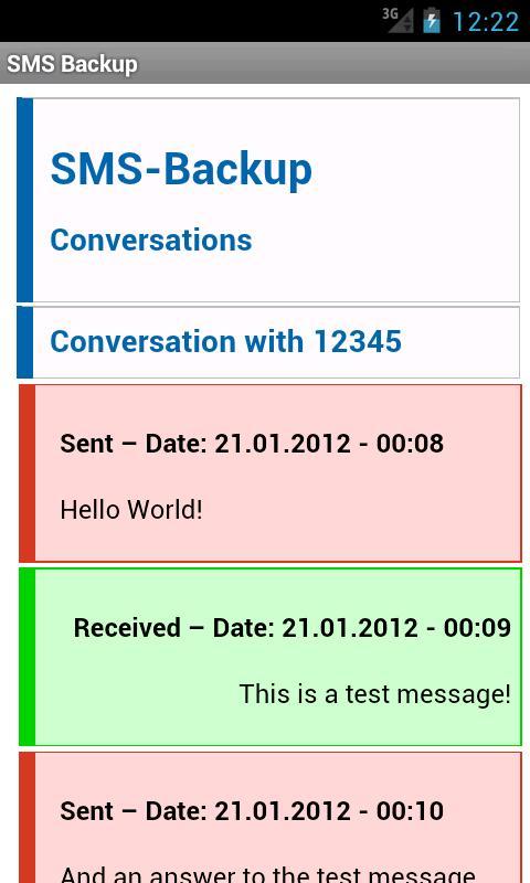 SMS Backup- screenshot