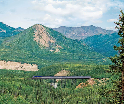 Alaska-Railroad-Denali-National-Park -  Ride the Alaska Railroad through the vast, rolling Denali National Park en route to your Inland Passage itinerary on your Princess expedition.