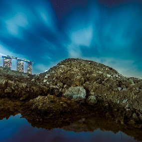 Into The Blue. by Dee S. Alkhatib - Landscapes Mountains & Hills ( water, sand, building, reflection, blue, mbs, landscapes, longexposure, skycraper, singapore )