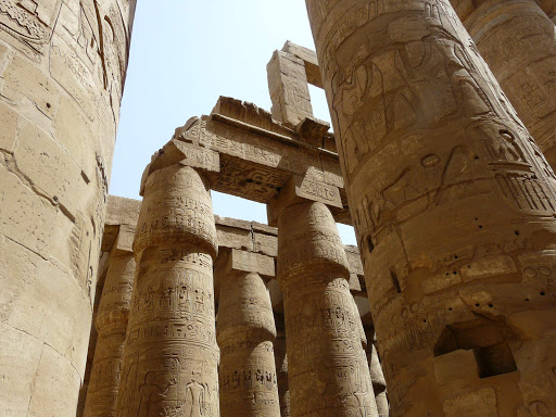 Karnak-Temple-Hypostyle - The hypostyle hall of Karnak Temple at Luxor, Egypt. The largest religious building ever constructed, Karnak dates from about 2055 BC to 100 AD. See it as part of a cruise aboard Uniworld's River Tosca or Princess Cruises' globe-trotting Pacific Princess.