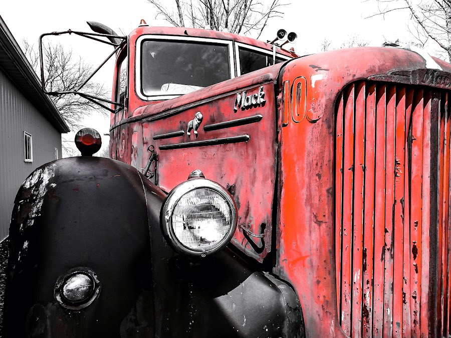 Little Old Mack truck by Sue Delia - Transportation Other ( old, red, truck, mack, black,  )