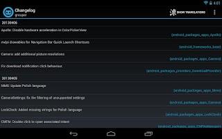 Screenshot of Better CyanogenMod Changelog