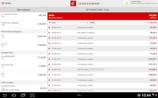 Screenshot of Banque pour tablettes Android