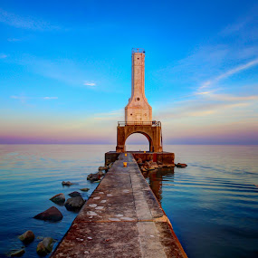 Calm Waters by Anna-Lee Nemchek Cappaert - Landscapes Waterscapes ( water, calm, wisconsin, lake michigan, sunset, lighthouse, sunset colors, blue water, port washington )