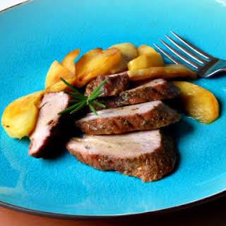 Roasted Pork Tenderloin with Apples and Cider Sauce.