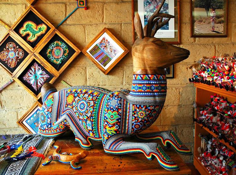 Beaded Huichol art in Puerto Vallarta, Mexico.