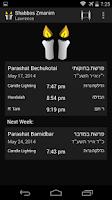 Screenshot of Shabbos Zmanim (Shabbat Times)