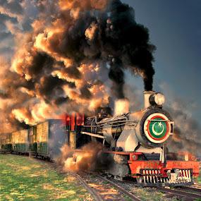 On a grassy Track by Agha Ahmed - Transportation Trains ( steam train, locomotive, train, travel, landscape, steam )
