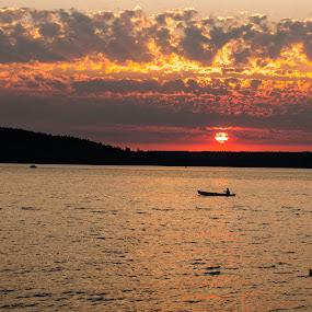 Sunset on Puget Sound  by Loren Masseth - Landscapes Sunsets & Sunrises ( washington state, puget sound, colorful, bay, sunset, ocean, boat, landscape,  )