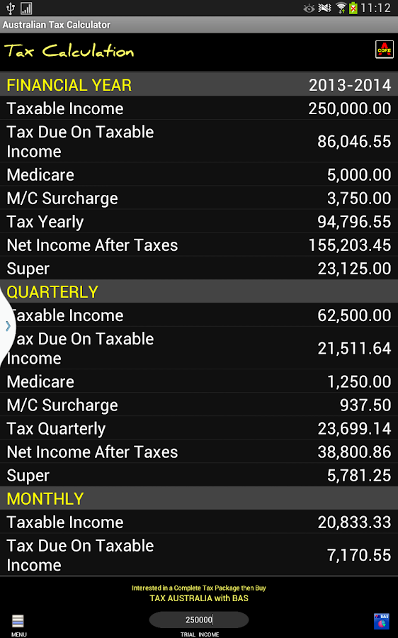 Australian Tax Calculator - screenshot