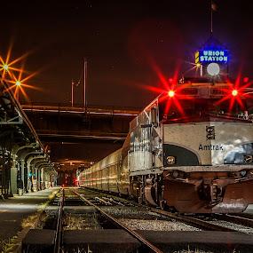 Red Eye Express by Edwin Montgomery - Transportation Trains ( railroad tracks, portland, amtrak, railroad, train, downtown, trains )
