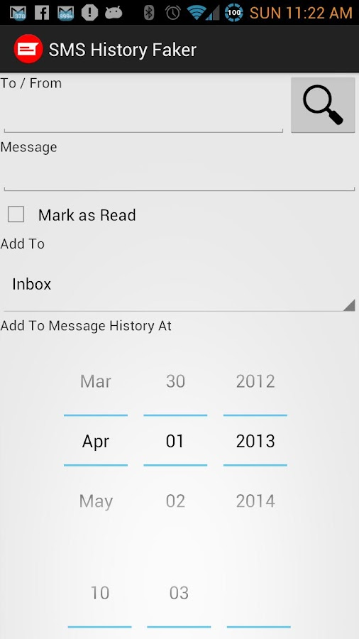 SMS History Faker- screenshot