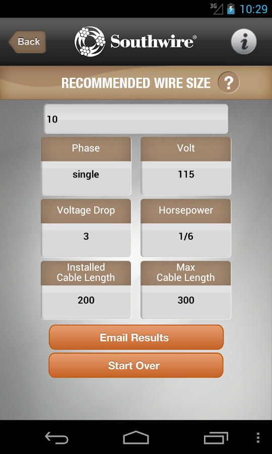 Southwire® Pump Cable Calc- screenshot