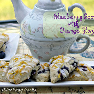 Blueberry Scones With Orange Glaze.