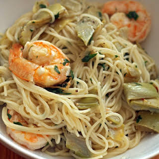 Shrimp Scampi with Artichokes.
