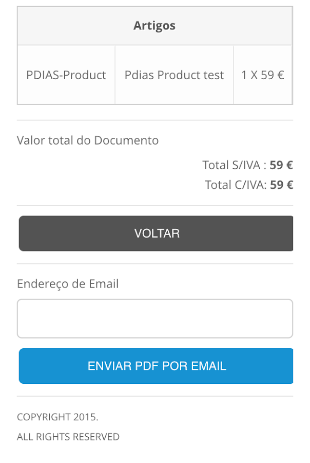 Keyinvoice– captura de ecrã