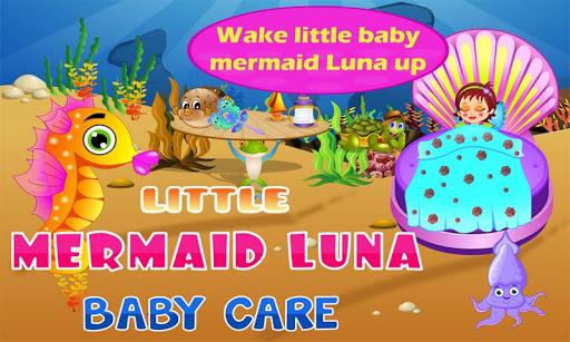 就拿小寶貝人魚月神的呵護!禮服,播放和嬰兒餵養的美人魚月神