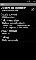 Screenshot of Voice+ (Google Voice callback)