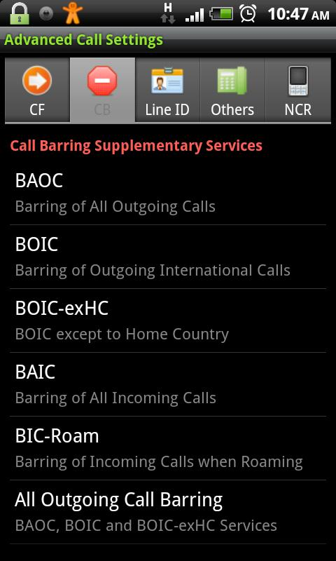 Advanced Call Settings - screenshot