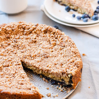 Mostly Healthy Cinnamon Blueberry Coffeecake (v).