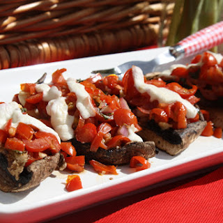 Fresh Tomato and Basil Bruschetta over portobello Mushrooms