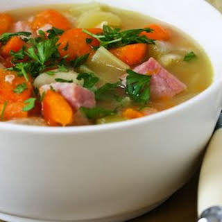 Pressure Cooker Vegetable Soup with Giant White Beans, Ham, and Bay Leaves.