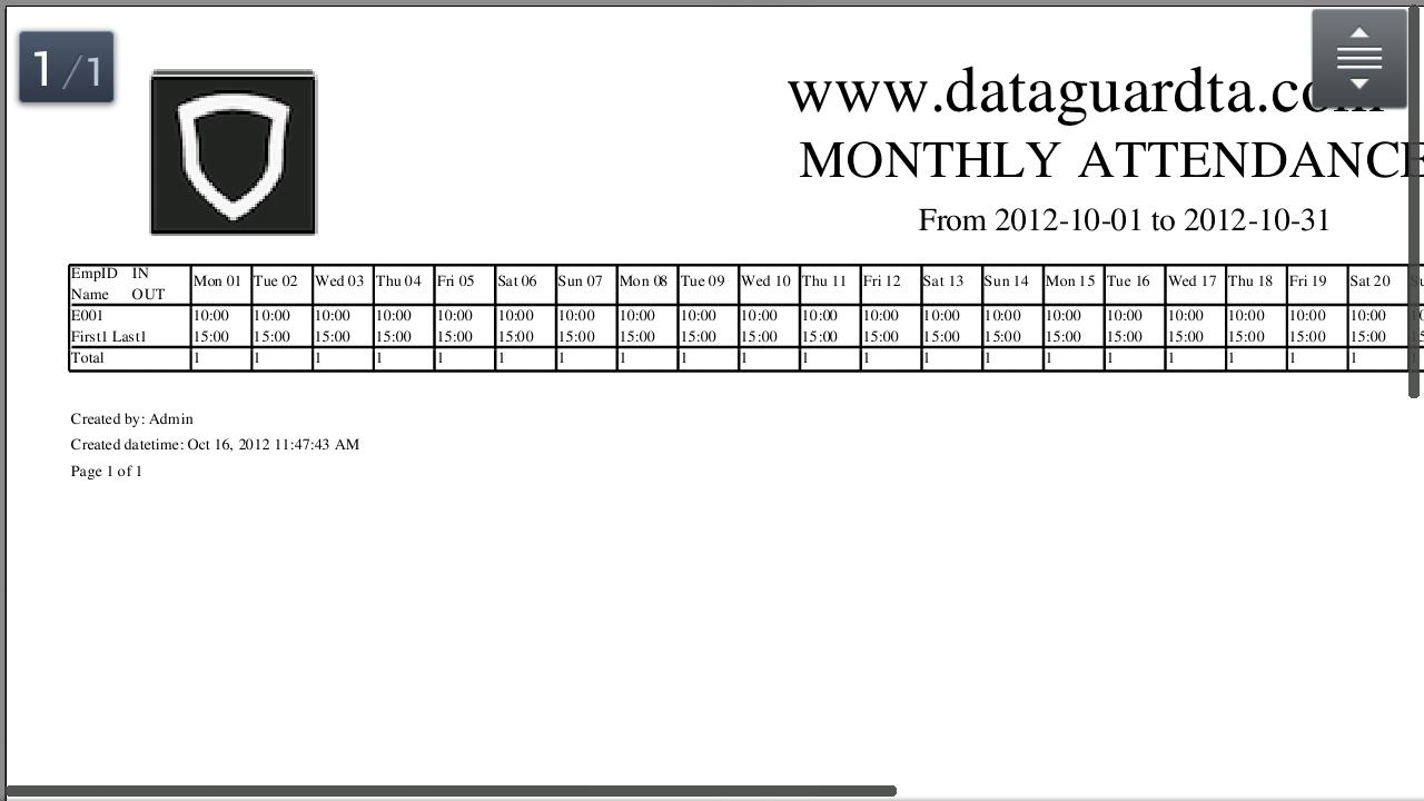 DataGuard Time Attendance - screenshot