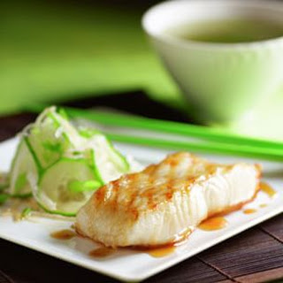 Grilled Miso-Glazed Sea Bass with Japanese Cucumber Salad.