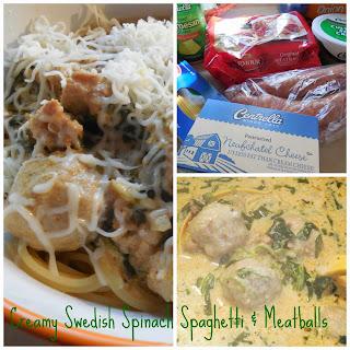 Creamy Swedish Spinach Spaghetti & Meatballs.