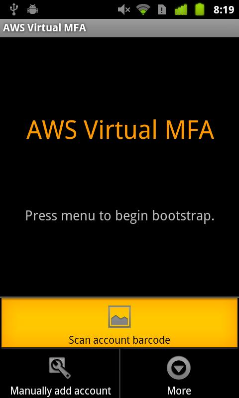 AWS Virtual MFA - screenshot