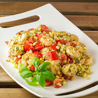 Shrimp, Corn and Tomato Salad with Pesto