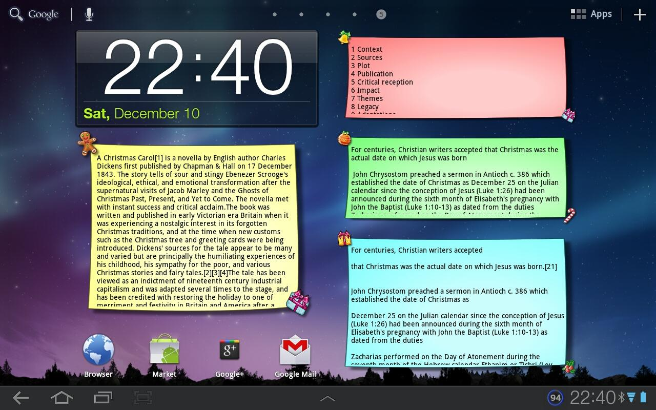 Christmas Note Widget - screenshot