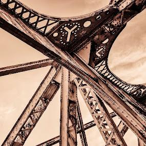 Bridge #2 by Bob Stafford - Buildings & Architecture Bridges & Suspended Structures ( chicago june 2013, urban, black and white, chicago, bridge, decay )